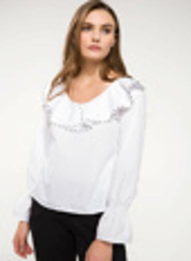 DeFacto Volan Detaylı Bluz Beyaz